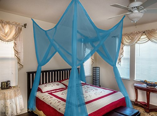 OctoRose ® 4 Poster Bed Canopy Netting Functional Mosquito Net Full Queen King (Teal Blue)
