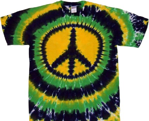 Tie Dyed Shop Peace Sign Tie Dye T Shirt-Mardi Gras New Orleans -Shortsleeve-Medium-Multicolored