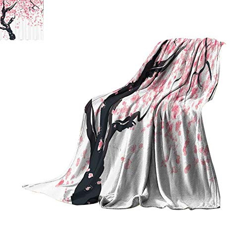 Luckyee Throw Blanket House Decor,Japanese Cherry Tree Blossom in Watercolor Painting Effect Oriental Stylized Art Deco,Black Pink Oversized Travel Throw Cover Blanket Bed or Couch 60