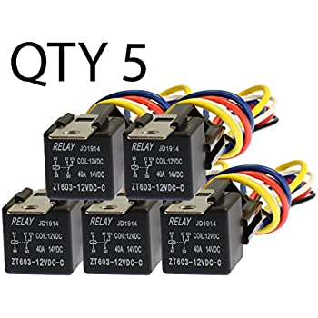 Amazon.com: The Wires Zone 5 Pack 30/40 Amp Relay Wiring ... on