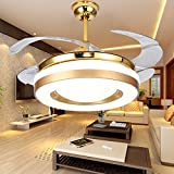 Yue Jia 42 Inch Promoting Natural Ventilation Invisible Fan Modern Luxury Dimmable (Warm/Daylight/Cool White) Chandelier Foldable Ceiling Fans With Lights Ceiling Fan for Room with Remote Control