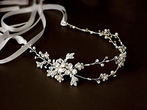 Handmade Austrian Crystal & Pearl Wedding Prom Bridesmaid Satin Ribbon Wire Headband Hair Jewelry Headpiece Accessory, Clearance Wholesale (Delicate Floral-Silver)