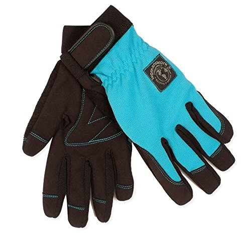 Womanswork 508L Stretch Gardening Glove with Micro Suede Palm, Teal Blue, Large (Glove Palm Suede)