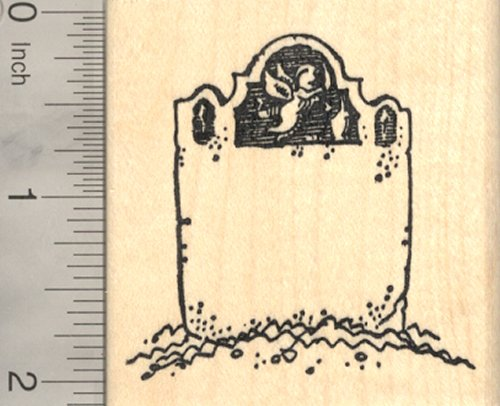Halloween Tombstone Rubber Stamp, with Angel and Blank Epitaph Space, Cemetery]()