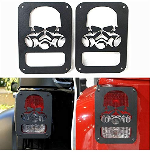 NYYINLI Tail Light Guard Matte Skull Rear Side Rugged Off Lamp Protector Cover Trim fit Jeep Wrangle JK & Unlimited 2007-2018-1 Pair