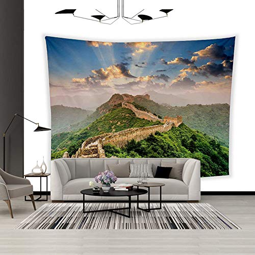 BEISISS Art Polyester Wall Hanging Tapestry,Theme- Great Wall of China,Oriental Medieval Blockade on High Lands Old Wonders The Past,Bedroom Living Room Dormitory Wall Hanging Tapestry-80 -