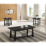 3-Piece Kings Brand Casual Coffee Table & 2 End Tables Occasional Set, Black Finish Wood