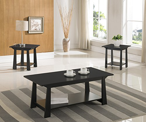 Wood 3 Piece Table Finish - 3-Piece Kings Brand Casual Coffee Table & 2 End Tables Occasional Set, Black Finish Wood