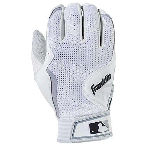 Franklin Sports MLB Freeflex Series Batting Gloves, White/White Adult X-Large ()