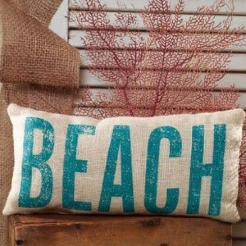 BEACH French Country Burlap Accent Pillow - Cream/Aquamarine - 6-in x 12-in by The Country House 81613