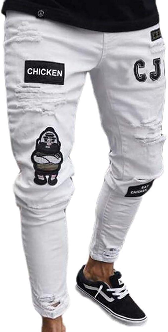 Hombres Pantalones De Mezclilla Hip Ropa Stretch Jeans Festiva Hop Skinny Jeans Ripped Destroyed Hole Design Pantalones De Mezclilla 2019 Ropa De Hombre Color Blanco Size 3xl Amazon Es Ropa Y Accesorios