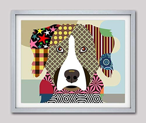 "Bernese Mountain Dog Pop Art Print Pet Portrait-8"" x 10"", 11"" x 14 (UNFRAMED)"