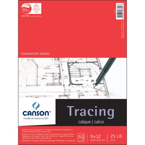 Canson 702-321 Pro-Art 9-Inch by 12-Inch Tracing Paper Pad, 50-Sheet -