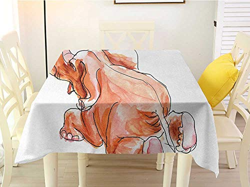 Square Tablecloth Washable Animal Little Cute Baby African Safari Theme Elephant Fall Down Watercolored Artwork Orange and White Polyester 60 x 60 Inch ()