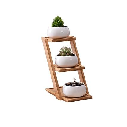 BESTOMZ Maceteros de cerámica suculenta con bandeja de bambú Moderna maceta de cactus pequeña decorativa(