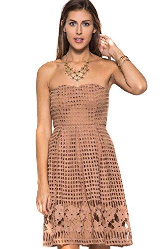 - She + Sky Women'sBrown Sleeveless Croche Lace Midi Fit Flare Dress [M]