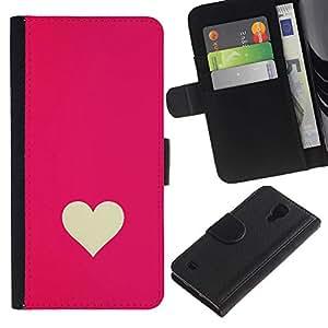 A-type (Minimalist Pink White Valentines) Colorida Impresión Funda Cuero Monedero Caja Bolsa Cubierta Caja Piel Card Slots Para Samsung Galaxy S4 IV I9500