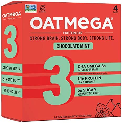 Oatmega Protein Bars, Chocolate Mint, Healthy Snacks Made with Omega-3 and Grass-Fed Whey Protein, Gluten Free Protein Bars, 1.8oz 4 Count