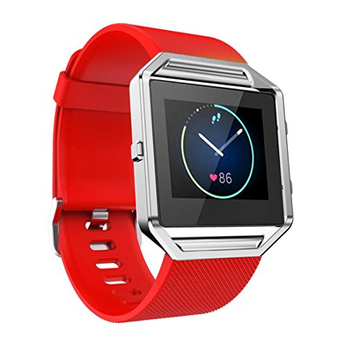 For Fitbit Blaze Accessory Band Large, HP95(TM) Soft Silicone Replacement Sport Strap Band for Fitbit Blaze Smart Watch (Red )