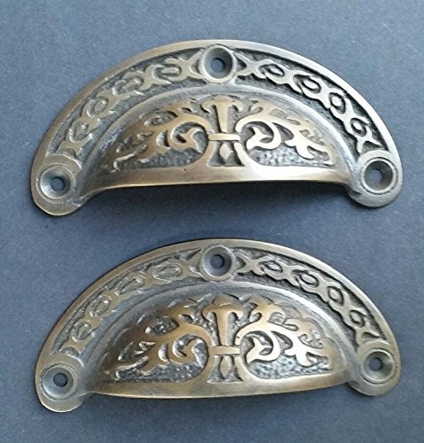 Patina Handle Brass (2 antique Victorian style vintage brass apothecary bin pull handles 3 7/16