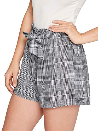 (SweatyRocks Women's Casual Elastic Waist Striped Summer Beach Shorts with Pockets Plaid M)