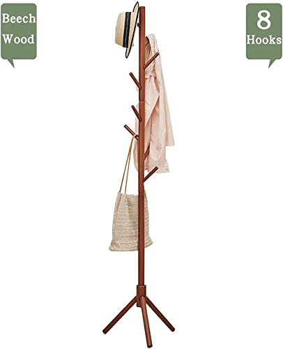 Wooden Coat Rack Stand, 8 Hooks Hat Sweater Jacket Hanging Stand Easy Assembly Wood Rack Tree for Home Office Entryway Bedroom, Walnut-Brown