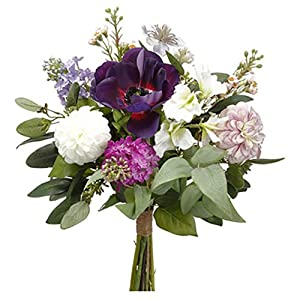 "16"" Anemone, Dahlia & Lilac Silk Flower Bouquet -Eggplant/Violet (Pack of 6) 91"
