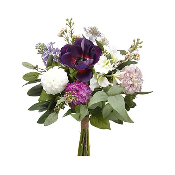 16″ Anemone, Dahlia & Lilac Silk Flower Bouquet -Eggplant/Violet (Pack of 6)