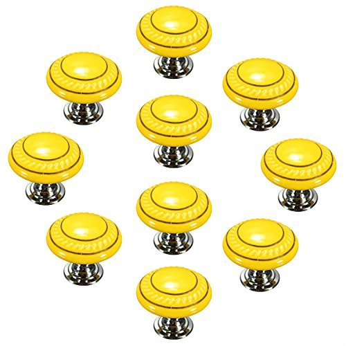 drawer knob - SODIAL(R) Yellow 10PCS Retro Simple Style Round Ceramic Door Knob Handle Pull Knobs Door Cupboard Locker for Drawer,Cabinet,Chest, Bin, Dresser, Bathroom ,Cupboard, Etc with Screws