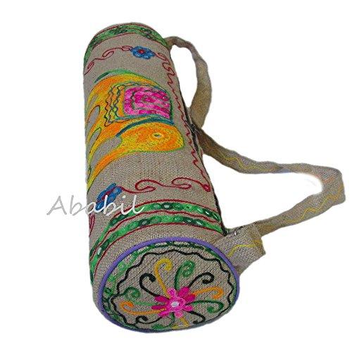 (Yoga Mat Bag by Ababilart Large Yoga Mat Tote Sling Carrier Indian Handmade Jute Embroidered Yoga Mat Bag With Adjustable Strap )