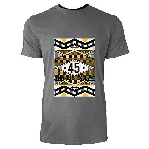 SINUS ART® 80er Jahre Print 45 Herren T-Shirts in Grau Charocoal Fun Shirt mit tollen Aufdruck