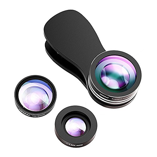Lente Movil Ojo de Pez 3 en 1 de Mpow Supermo de 180 grados + 0.65X ángulo Amplio + 10X lente marco con clip para iPhone 6 6s 5 5s, Huawei P9 P8, Bq, Xiaomi, y Android Smartphone [Versión Actualizada] 2 Clips