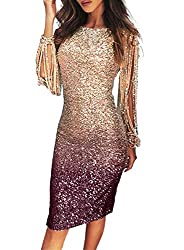 Sequin Tassel Sleeve Cocktail Party Champagne-Purple Colour Dress