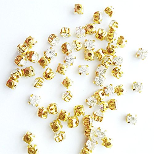 Greatdeal68 3mm to 8mm Glass Rhinestone Sew-on Silver Settings Montee Beads with 4 Holes Crystal/Crystal AB/Color (4.5mm 80pcs, Crystal w/Gold ()