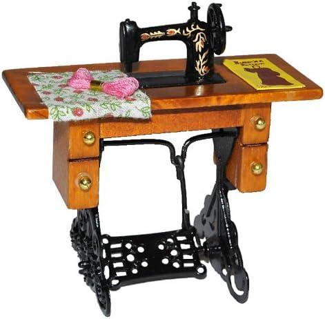 Puppenhaus Miniatur 1:12 Mini Möbel Nähmaschine mit Puppenstube Stoff L9S0