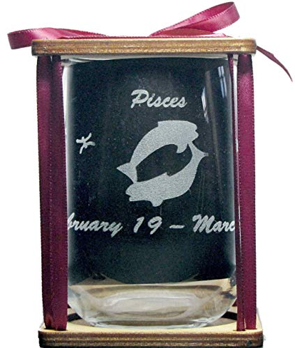 Pisces Astrological Sign 360 Degree Engraved Stemless Wine Glass