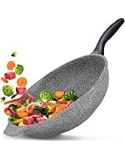 Koekenpan Premium met anti-aanbaklaag Korea Wok, Premium 5 jaar garantie, Vaatwasserbestendig | Geschikt voor alle warmtebronnen: inductie, gas, elektrisch, keramisch en halogeen | (32 cm Wok)