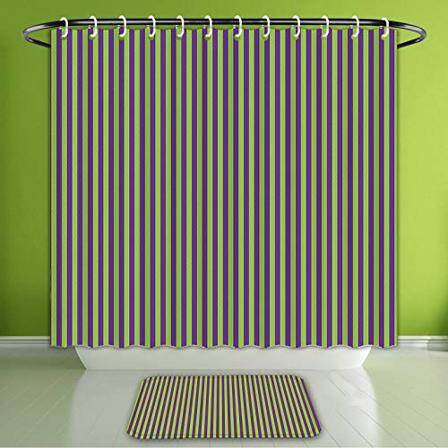 (Waterproof Shower Curtain and Bath Rug Set Pop Art Decor Vintage Retro 50S 60S Style Bold Stripes Rooms Wallpaper Image Ro Bath Curtain and Doormat Suit for Bathroom Extra Wide Size 78