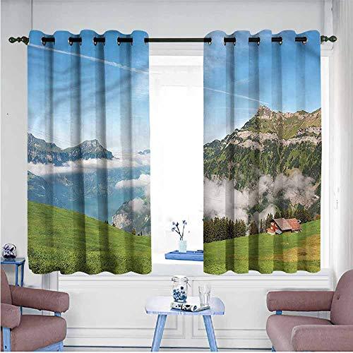 SAMEK Sliding Door Curtains,Mountain Switzerland Lake Lucerne,Treatment Thermal Insulated Room Darkening,W63x72L