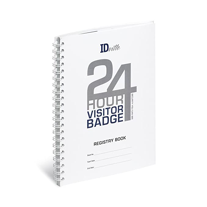 Amazon com: ID Card Pros Visitor Log Book - Spiral-Bound