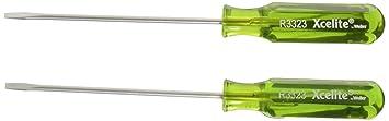 3//32 Head Xcelite Green R3323 Steel Slotted Pocket-Clip Screwdriver 2-Pack 3 Blade Length