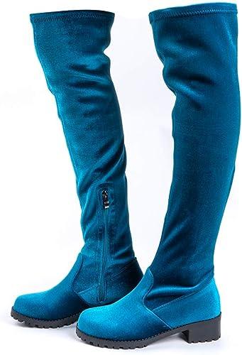 Stivali Donna sopra il ginocchio in Camoscio Marrone, Tacco