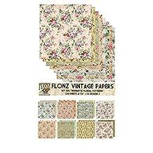 Paper Pack (24sh 15x15cm) Romantic Vintage Floral Pattern FLONZ Vintage Paper for Scrapbooking and Craft