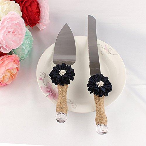 elegantstunning Wedding Cake Knife With Fine Twine Handle,Wedding Bridal Gift,Black Flower