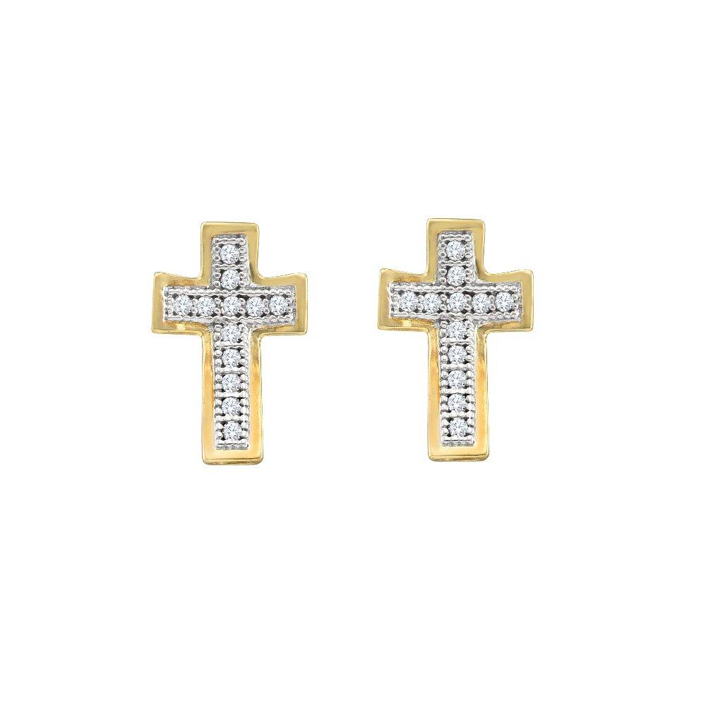Yellowgold 1 10 Total Carat Weight DIAMOND CROSS EARRINGS