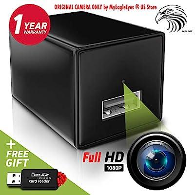 Spy Camera - Hidden Camera - Mini Spy Camera 1080p - USB Charger Camera - Hidden Spy Camera Charger - Hidden Nanny Cam - Hidden Spy Cam - Hidden Cam - Surveillance Camera FULL HD - No Wi-Fi Needed from MyEagleEyes
