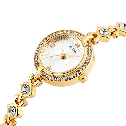 TIDOO Women's Watches Japan Quartz Movement Analog Lady Fashion Luxury Bracelet Watch Gold White Dial Dress Watch for Female from TIDOO