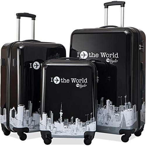Flieks Graphic Print Luggage Set 3 Piece ABS + PC Spinner Travel Suitcase (Around the World) ()