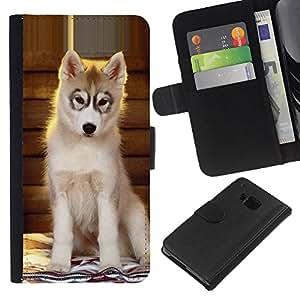 Stuss Case / Funda Carcasa PU de Cuero - Husky Puppy Alaskan Malamute Dog - HTC One M7