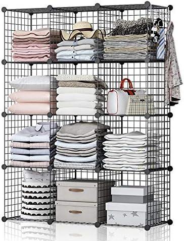 GEORGE DANIS Wire Cube Storage 42x14x56 inches Metal Grid Organizer Modular Shelving Unit Stackable Bookcase Wardrobe Closet
